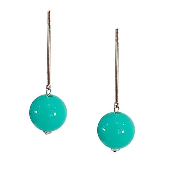 brinco bola turquesa - Brinco Pêndulo Bola