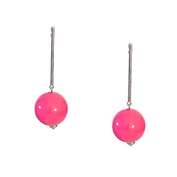brinco bolsa rosa - Brinco Pêndulo Bola