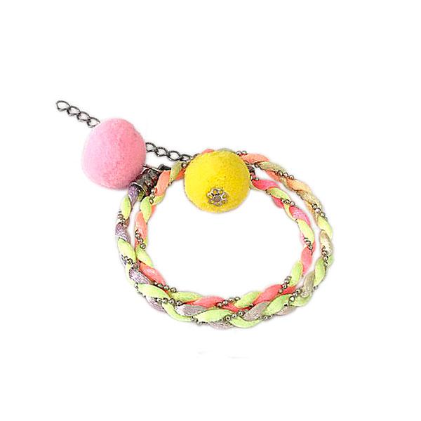 pulseira duas voltas neon pompom amarelo - Pulseira Dupla Rainbow