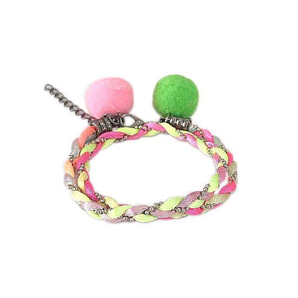 pulseira duas voltas neon pompom verde - Pulseira Dupla Rainbow