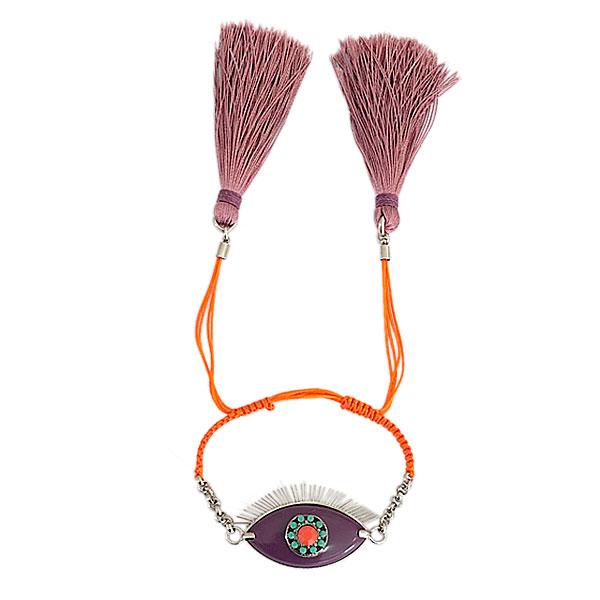 pulseira lashes roxo e laranja - Pulseira Lashes Roxa