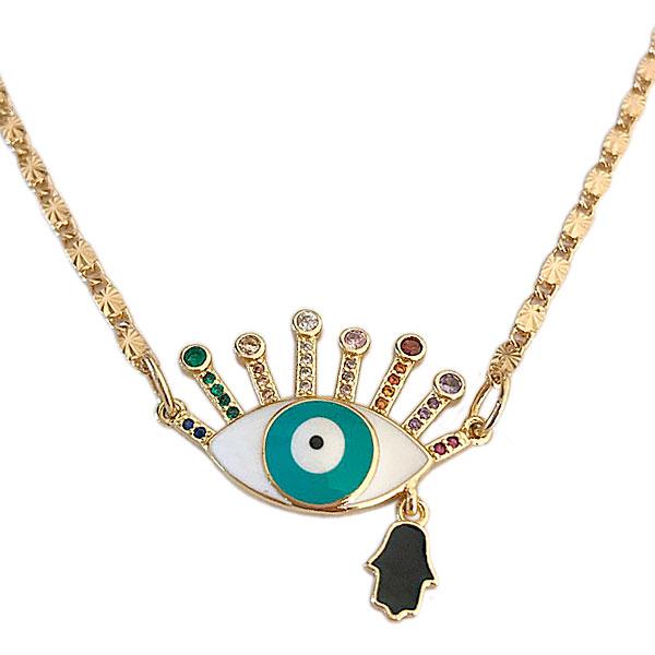 detalhe olho zirconias hamsa - Colar Olho Hamsa