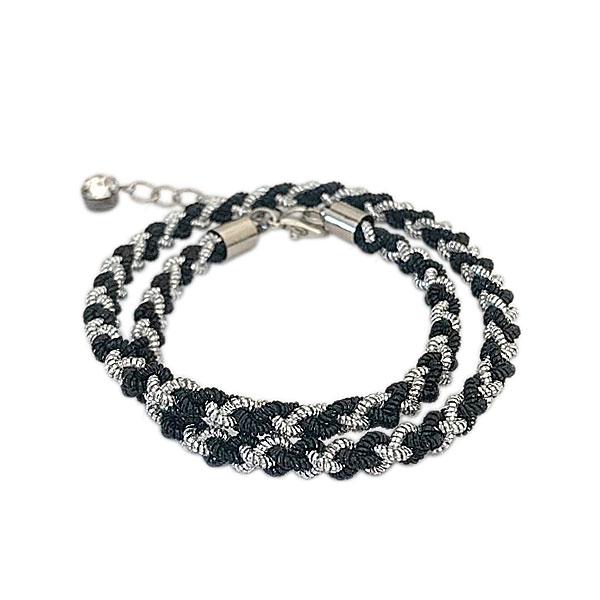 fio multiuso preto e prata - Conjunto Pulseiras Black