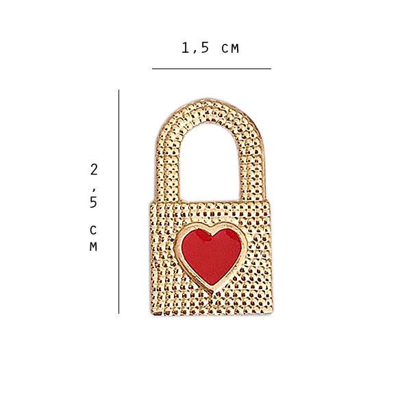 pingente cadeado tamanho 1 - Cadeado Coração Esmaltado