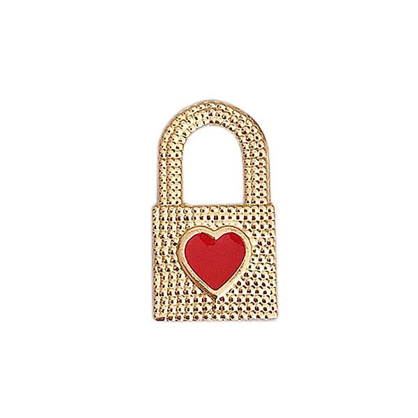 pingente cadeado vermelho - Cadeado Coração Esmaltado